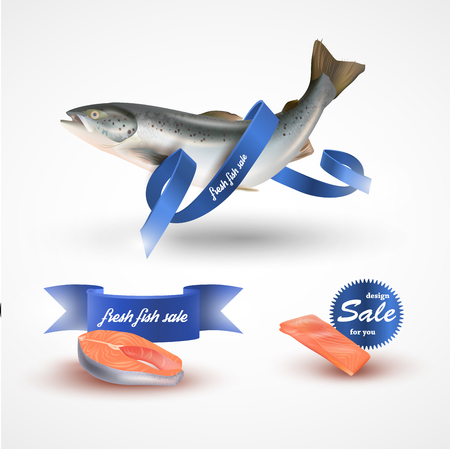 Set salmon vector illustration. Fillet, steak and fish salmon isolated on white without blue ribbon Illustration