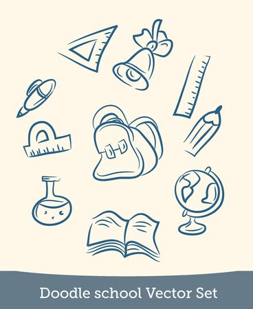 doodle school set isolated on white background. Vector