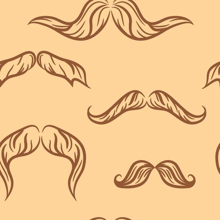 seamless pattern.doodle mustache set . Vector