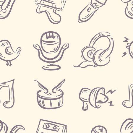 seamless pattern . doodle music set. Vector
