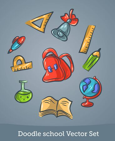 doodle school set isolated on blue background. Vector