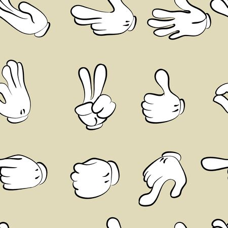 seamless pattern. hands doodle set . Vector Illustration