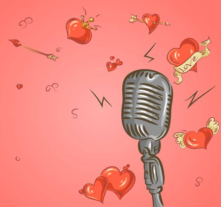 Valentine microphone isolated on pink background. Vector EPS10