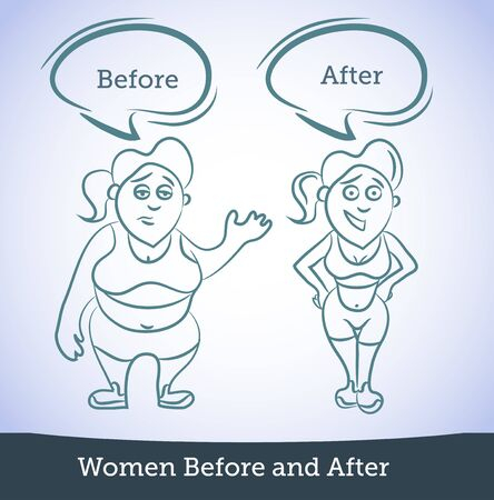 Women Before and After, vector illustration