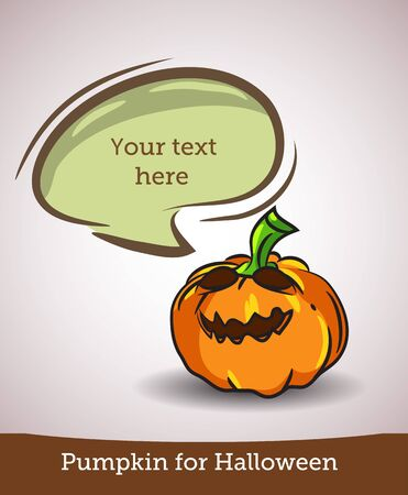 Cartoon pumpkin with speech bubble isolated on white background. Vector EPS10
