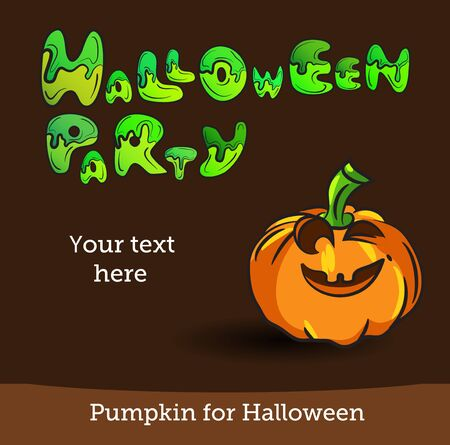 Halloween Party Background with Pumpkin. Vector illustration