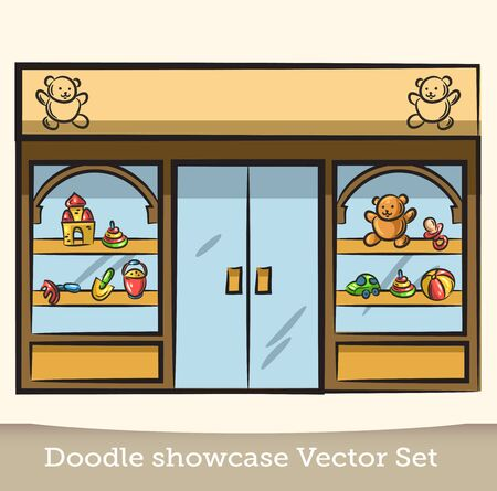 Doodle showcase toy vector set
