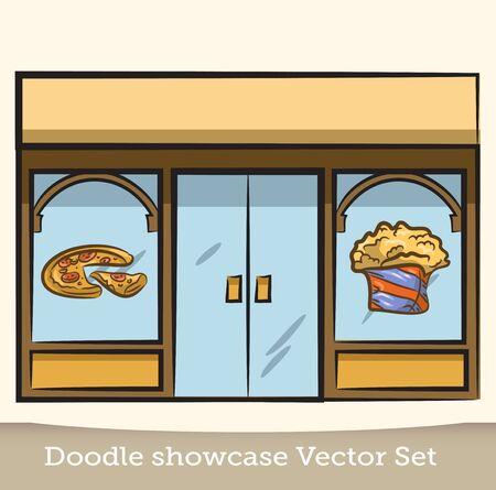 Doodle showcase food vector set