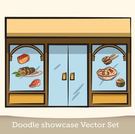 Doodle showcase sushi restaurant vector set Stock Illustratie