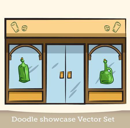 Doodle showcase bottle vector set.