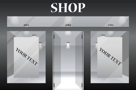 Shop Front. Exterior horizontal windows empty for your store product presentation or design. Eps10 vector. 向量圖像