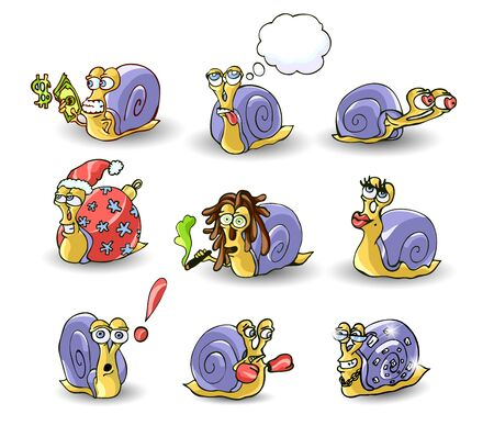 Mr. Snail on white background . vector