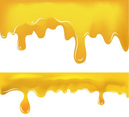 miel gouttes de motifs sur fond blanc. Illustration vectorielle Eps10