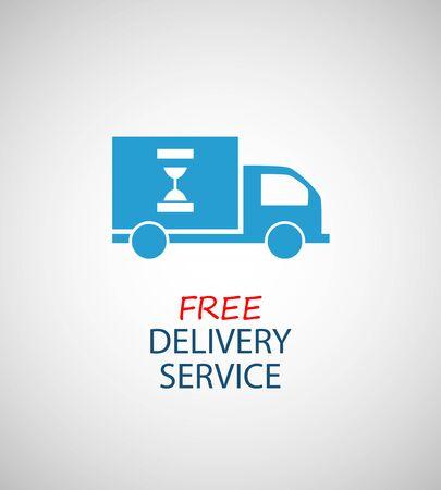 Icona di consegna gratuita, simbolo di vettore auto che trasportano merci su sfondo bianco.