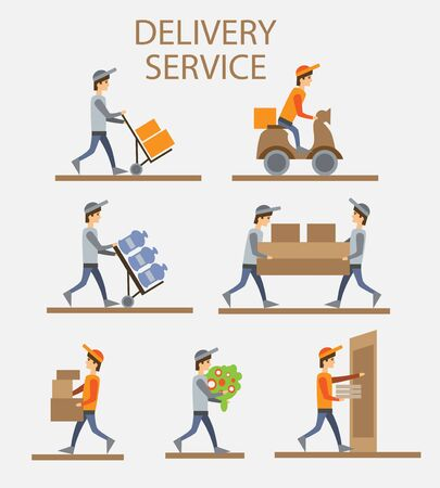 Delivery person freight logistic business industry icons flat set isolated