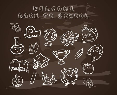 Back to school chalkboard sketch Education.Vector