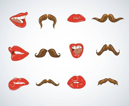 Set of lady lips and gentleman mustaches. Vintage and retro, black silhouette