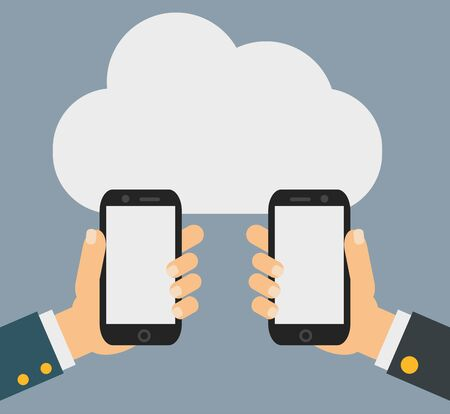 Two businessmen exchange information. Mobile phone transferring data from cloud. vector eps10