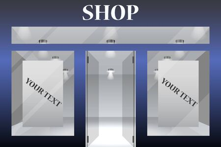 Shop Front. Exterior horizontal windows empty for your store product presentation or design.Part of set