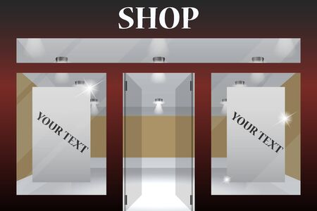Shop Front. Exterior horizontal windows empty for your store product presentation or design.Part of set 向量圖像