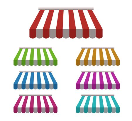 set of striped colorful awnings for shop. vector.