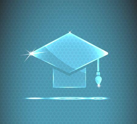 glass Graduation cap icon. Vector illustration EPS10