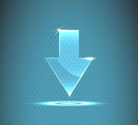 illustration glass arrow icon. Illustration