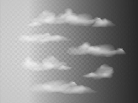 Set of transparent different clouds. Vector illustration. Isolated