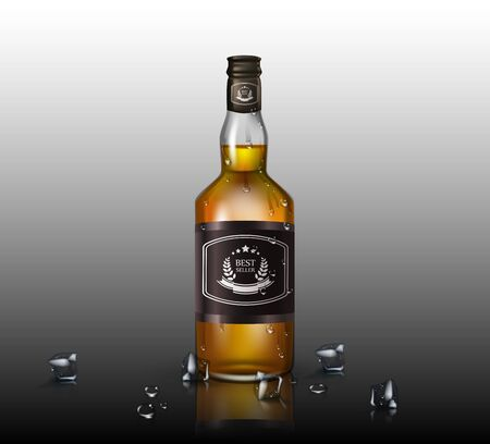 Glass brandy , bottle with screw cap, isolated on background. Vector illustration.