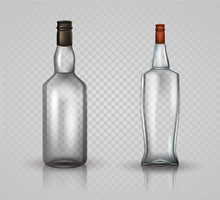 Glass vodka bottle and brandy with screw cap isolated on white background. Vector illustration. Archivio Fotografico - 128474844