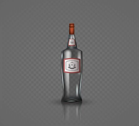 Glass vodka bottle with screw cap. Vector illustration. Archivio Fotografico - 128474846