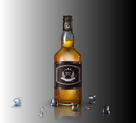 Glass brandy , bottle with screw cap, isolated on background. Vector illustration. Archivio Fotografico - 128474851