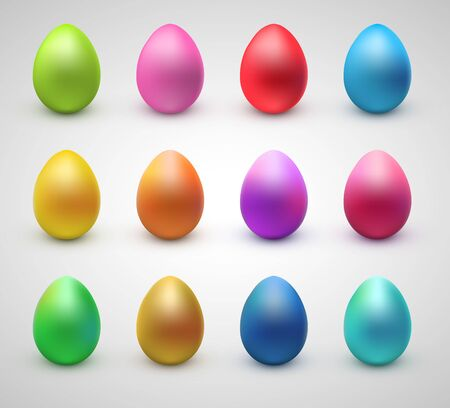 Set of realistic eggs on white background. Easter collection. Vector illustration