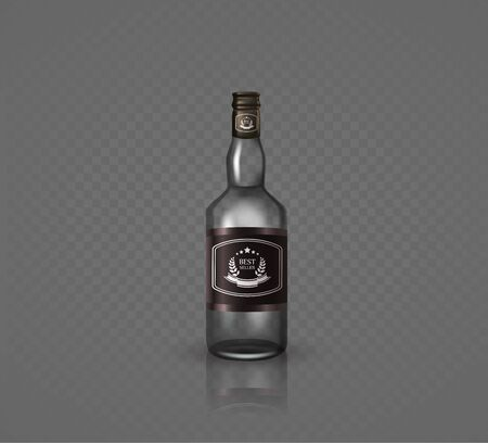Glass brandy , bottle with screw cap, isolated on black background. Vector illustration. Archivio Fotografico - 128474858
