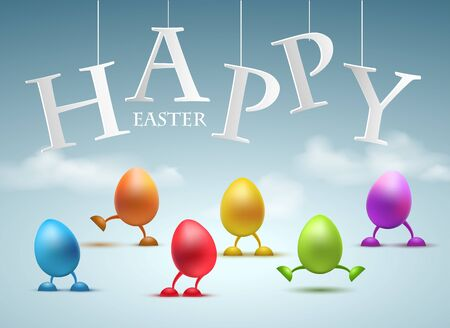 Happy Easter Greeting Card with Funny egg with legs vector illustration