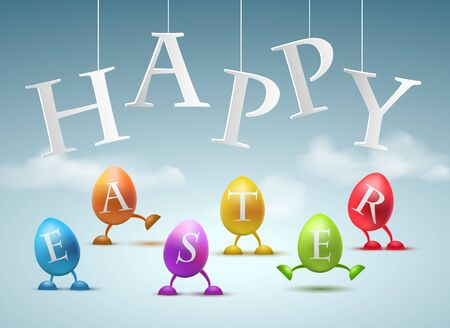 Happy Easter Greeting Card with Funny egg with legs vector illustration Archivio Fotografico - 128474947