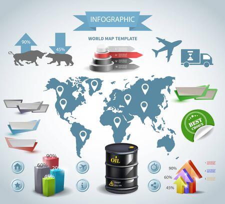 Infographic oil barrel Business template design . concept vector illustration 向量圖像