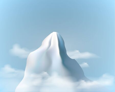 Realistic  mountain range background . Posters and Placards . snowy mountain peak, vector illustration.
