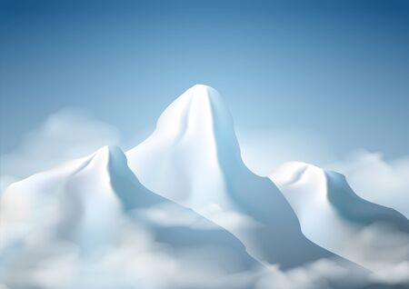 Realistic  mountain range background . Posters and Placards . Vector illustration.