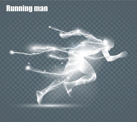 Running Man, flying lightning, vector illustration, solated on black background