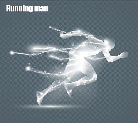 Running Man, flying lightning, vector illustration, solated on black background