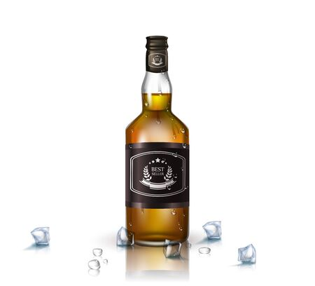 Glass brandy , bottle with screw cap, isolated on white background. Vector illustration. 向量圖像