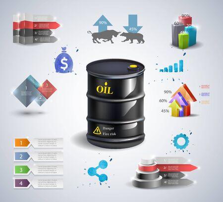 Infographic oil barrel Business template design . concept vector illustration Archivio Fotografico - 128475112