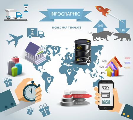 Infographic oil barrel Business template design . concept vector 向量圖像