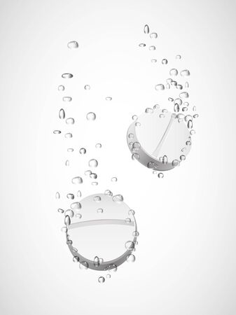 Tablet Dissolving in water isolated on white.Vector Ilustração