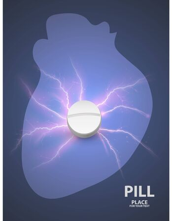 Heart background with white pill. concept of a vaccine .