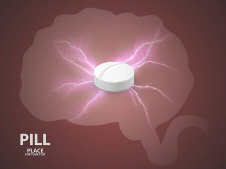 Brain background with white pill. concept of a vaccine .