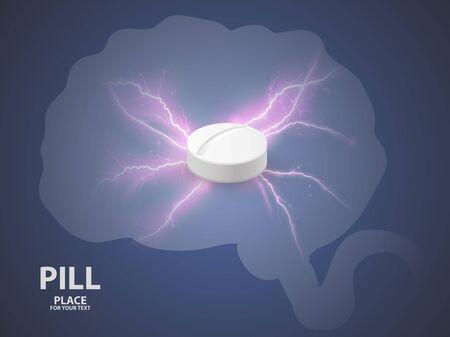 Brain background with white pill. concept of a vaccine . Archivio Fotografico - 128475135