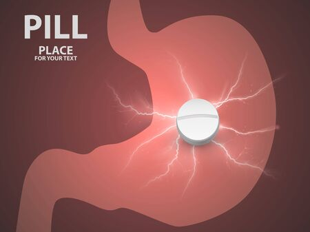 Stomach background with white pill. concept of a vaccine . Archivio Fotografico - 128475134