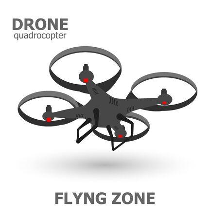 flying drone quardrocopter template.  Vector illustration